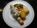 Slow Lane Salmon with Med Veg and Roast Potatoes 1