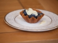 Blueberry basket with a white chocolate sauce