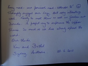 Testimonial from Australian Guests