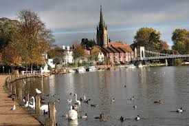 Ducks, geese and Swans at Marlow on the River Thames