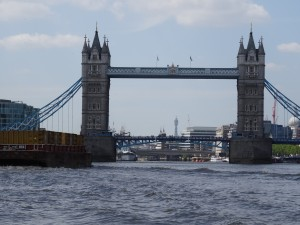Kailani on the River Thames entering Tower Bridge