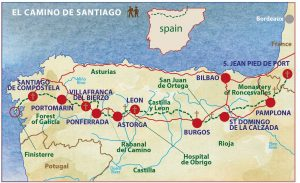 The Camino de Santiago or The Way of St James on france country map, home map, france natural resources map, gibraltar map, pilgrimage map, food of france regions map, paris france landforms map, burgos map, pyrenees map, hospital map, ponferrada map, france airports map, west france map, spain map, samos map, santiago de compostela map, spanish-speaking country map,