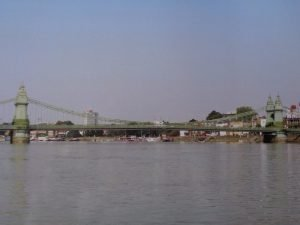 Hammersmith bridge view from the river